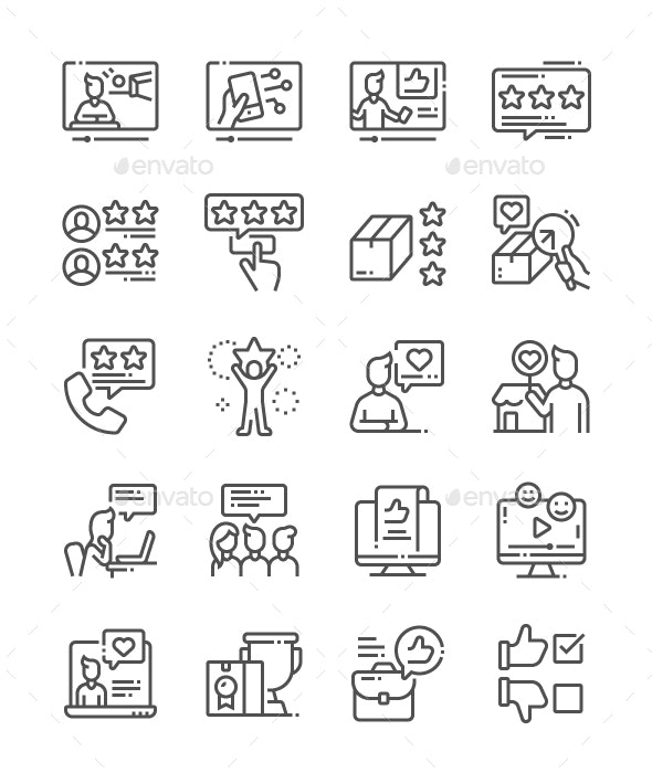 Reviews Line Icons - Miscellaneous Characters