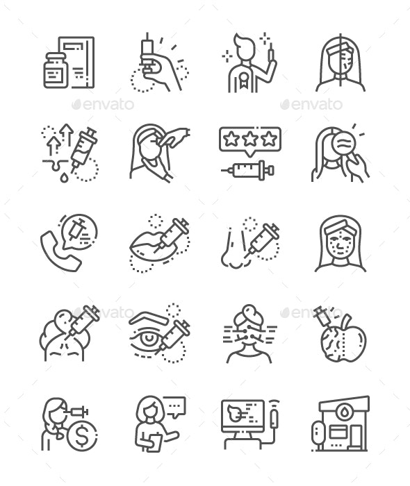 Botox Line Icons - Miscellaneous Characters