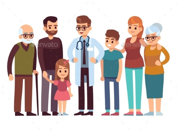 Family Doctor. Big Happy Health Family - People Characters