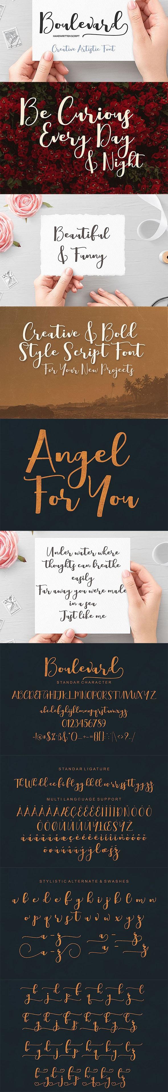 Boulevard Script Font - Hand-writing Script