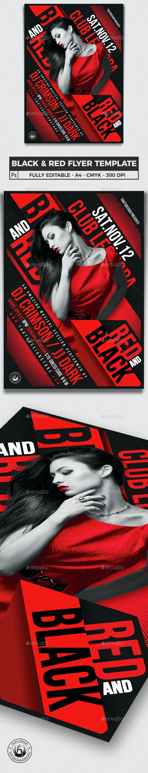 Black and Red Party Flyer Template V1 - Clubs & Parties Events