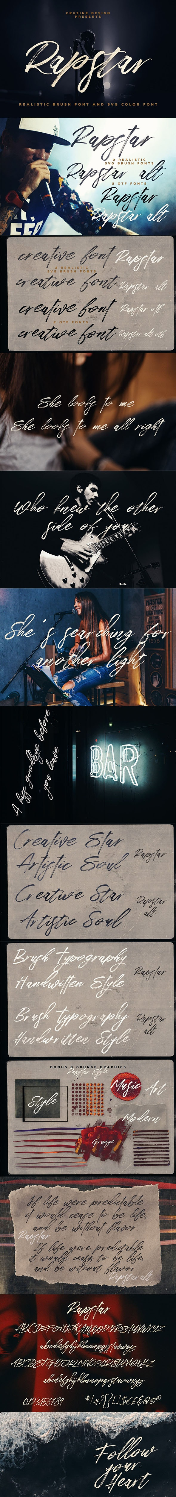 Rapstar Brush & SVG Font - Hand-writing Script