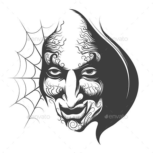 Evil Wizard Face - Tattoos Vectors