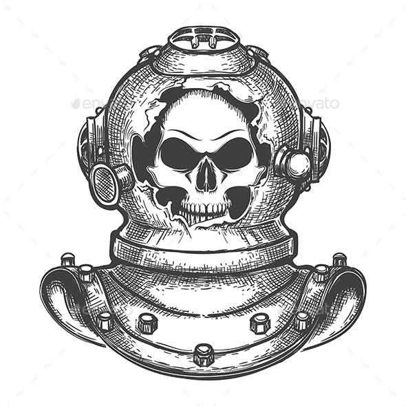 Skull in Broken Diving Helmet