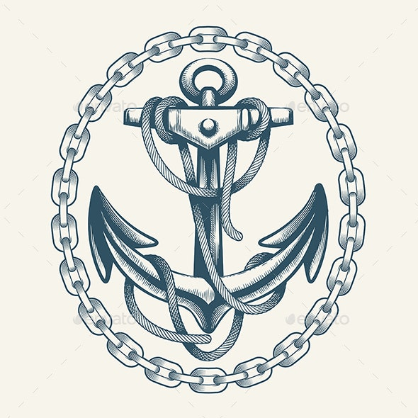 Anchor with Ropes in Circle of Chain - Tattoos Vectors
