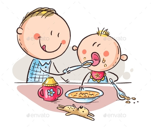 Father Feeding Baby, Vector Illustration - People Characters