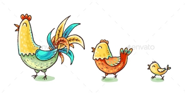 Colorful Cartoon Chicken Family Vector - Animals Characters