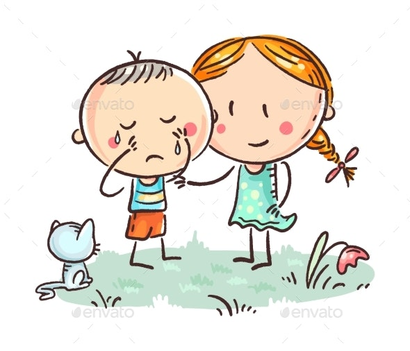 A Little Boy Crying and a Girl Comforting Him - Animals Characters
