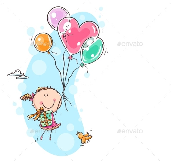 Girl Flying with the Balloons & Carrying a Present - People Characters