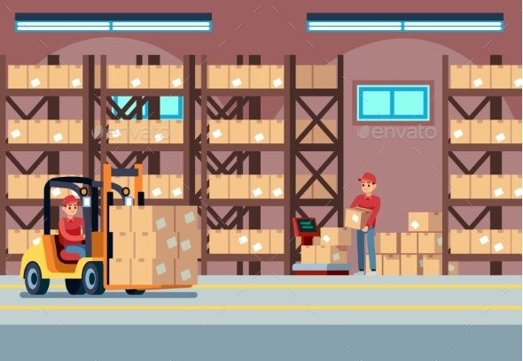 Warehouse Interior. People Loaders Working in - Industries Business
