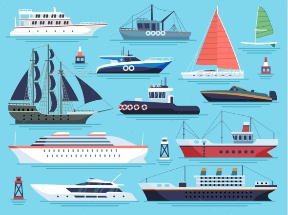 Maritime Ships Flat. Water Carriage, Vessels Boats - Man-made Objects Objects