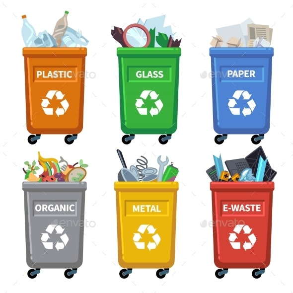 Waste Bin Categories. Trash Recycle, Separating - Objects Vectors