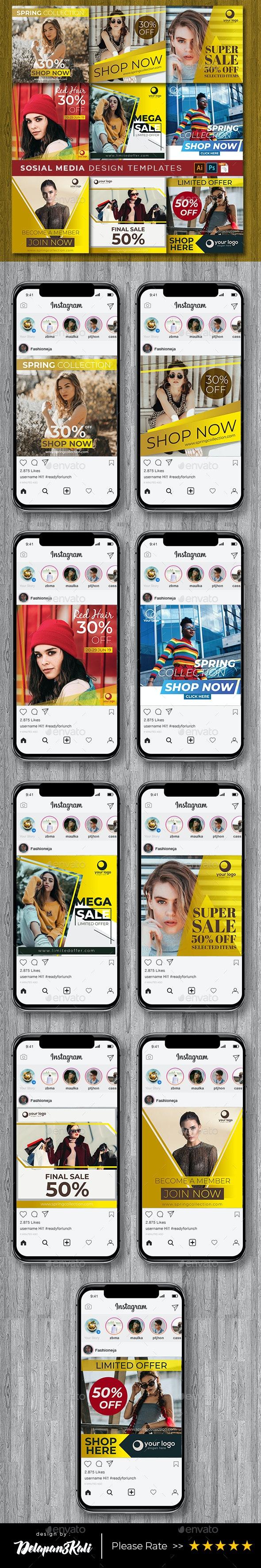 Social Media Design Templates Vol. 11 - Social Media Web Elements
