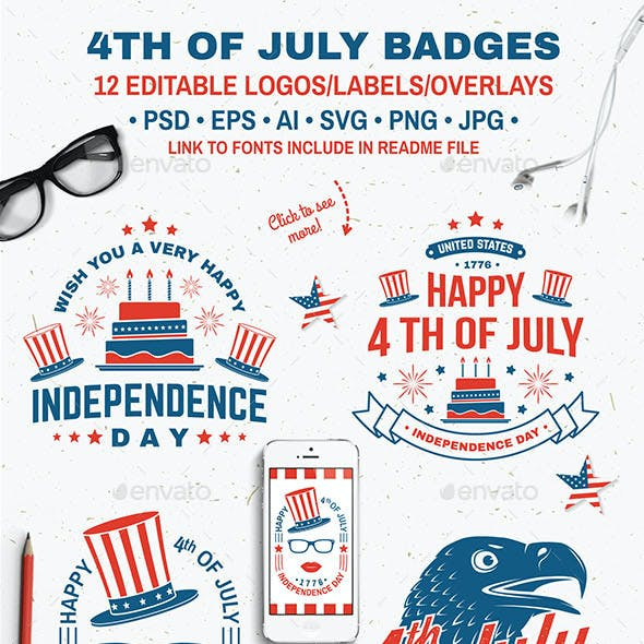 4th of July Badges
