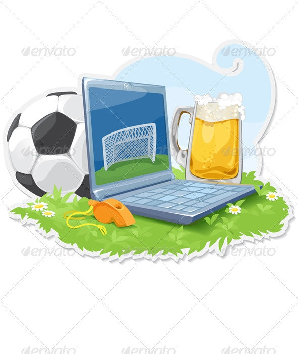 Laptop With The Attributes Of Sport And Beer - Conceptual Vectors