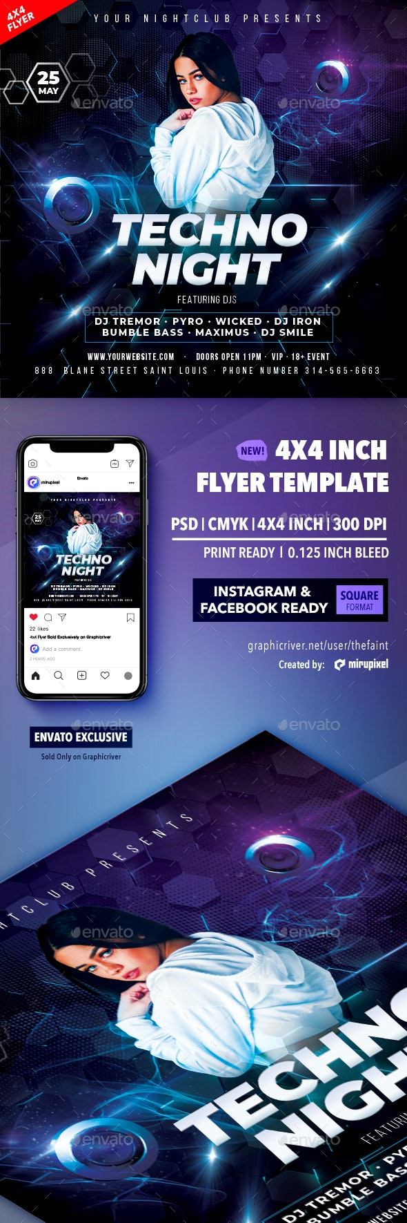 Techno Night 4x4 Inch Flyer Template - Clubs & Parties Events