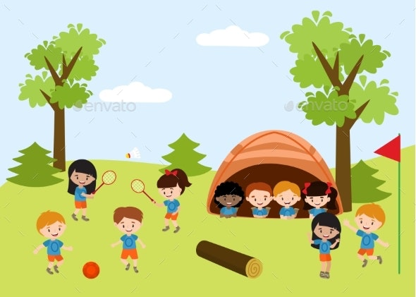 Kids Summer Camp Education Advertising Flyer - Sports/Activity Conceptual