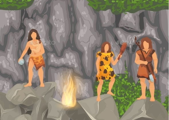Stone Age Primitive Tribes in Stone Caves Near - People Characters