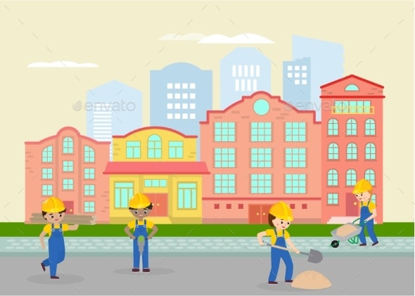 Road Works in Town, Street Vector Illustration - Industries Business