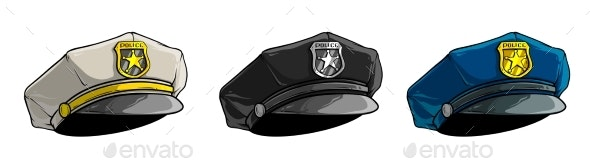 Cartoon Police Peaked Cap with Golden Badge - Objects Vectors