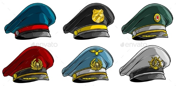 Cartoon Different Peaked Caps with Cockade - Objects Vectors