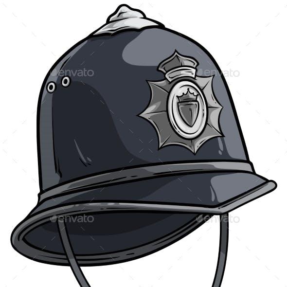 Cartoon London Police Helmet with Metal Badge