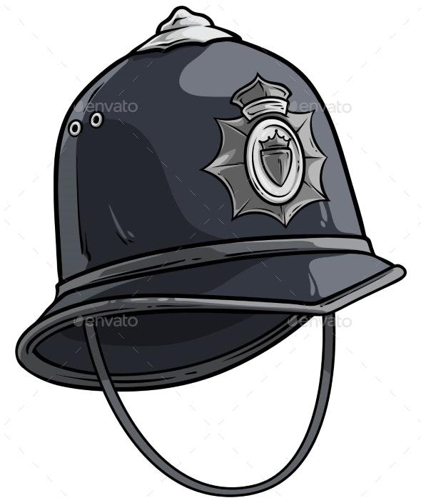 Cartoon London Police Helmet with Metal Badge - Objects Vectors