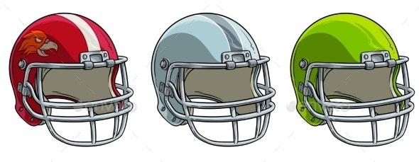 Cartoon American Football Helmet Vector Icon Set - Objects Vectors