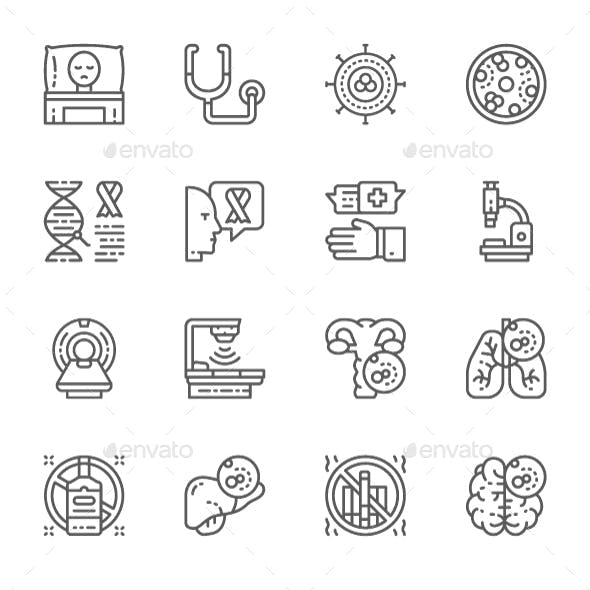 Set Of Cancer And Chemotherapy Line Icons. Pack Of 64x64 Pixel Icons