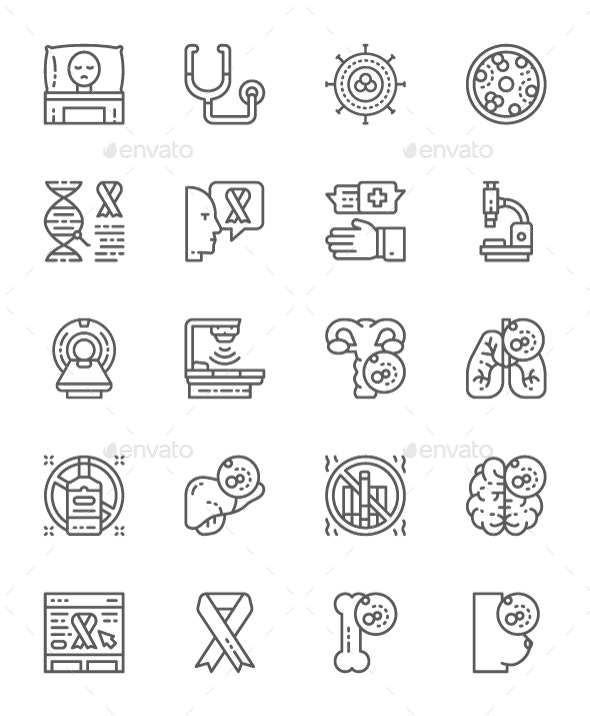 Set Of Cancer And Chemotherapy Line Icons. Pack Of 64x64 Pixel Icons - Abstract Icons