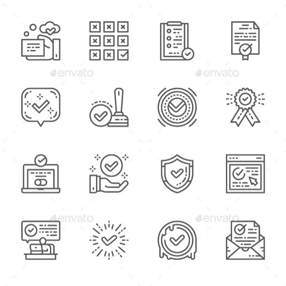 Set Of Check Mark And Approve Line Icons. Pack Of 64x64 Pixel Icons