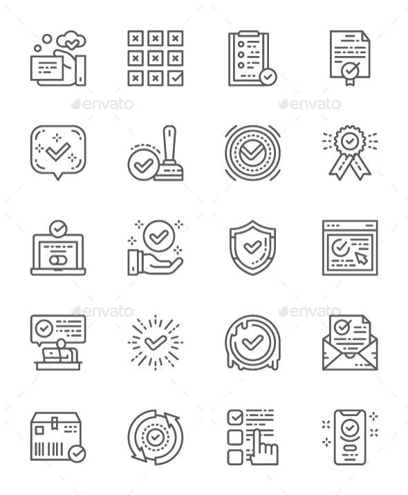 Set Of Check Mark And Approve Line Icons. Pack Of 64x64 Pixel Icons - Abstract Icons