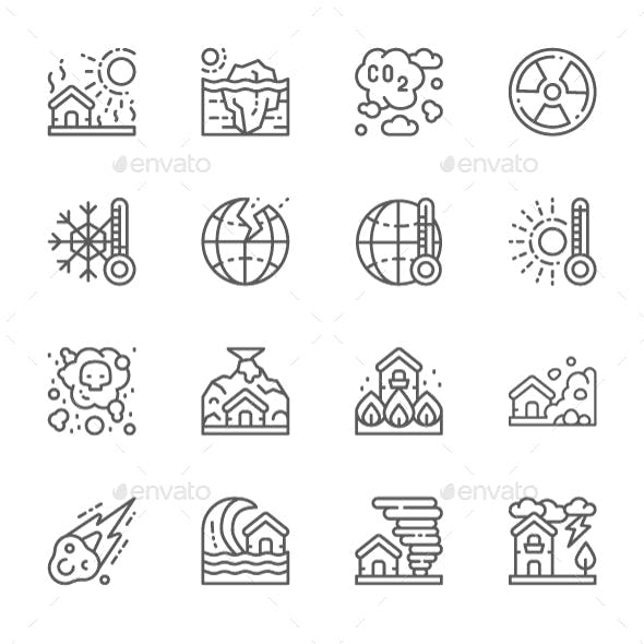 Set Of Natural Disaster Line Icons. Pack Of 64x64 Pixel Icons