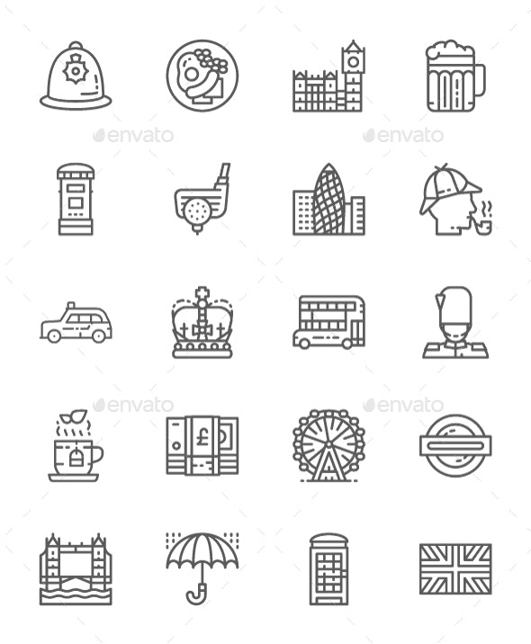 Set Of English Culture Line Icons. Pack Of 64x64 Pixel Icons - Objects Icons
