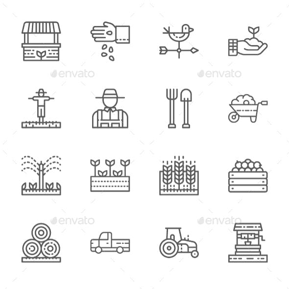 Set Of Farming And Agriculture Line Icons. Pack Of 64x64 Pixel Icons