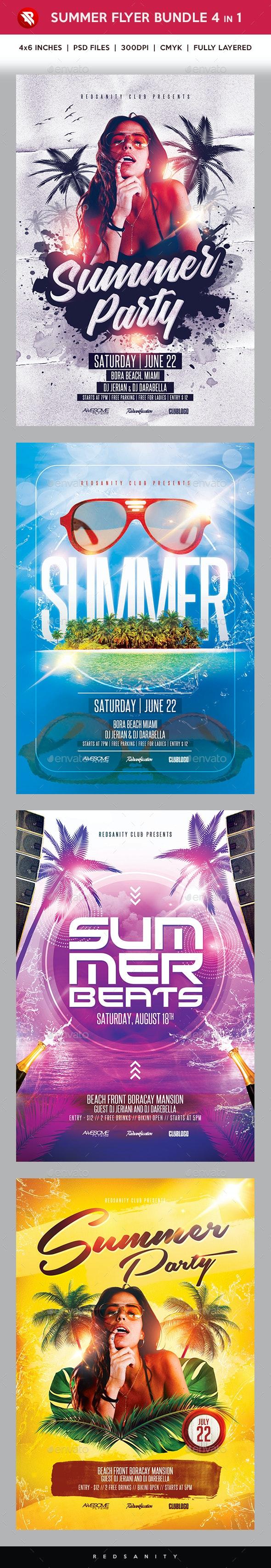 Summer Flyer Bundle 4 in 1 - Clubs & Parties Events