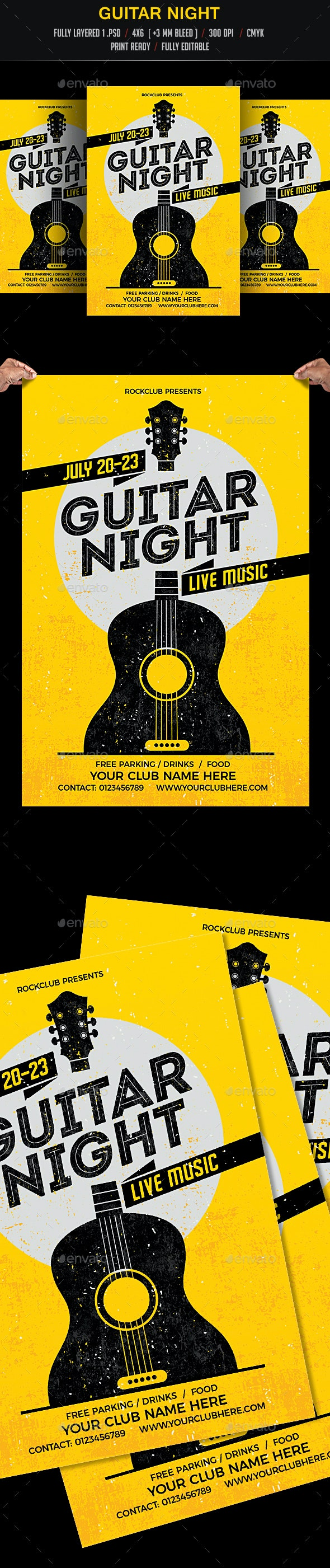 Guitar Night Flyer - Clubs & Parties Events