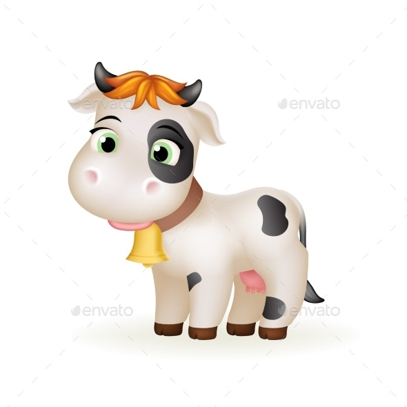 Cartoon Calf White Cow - Animals Characters