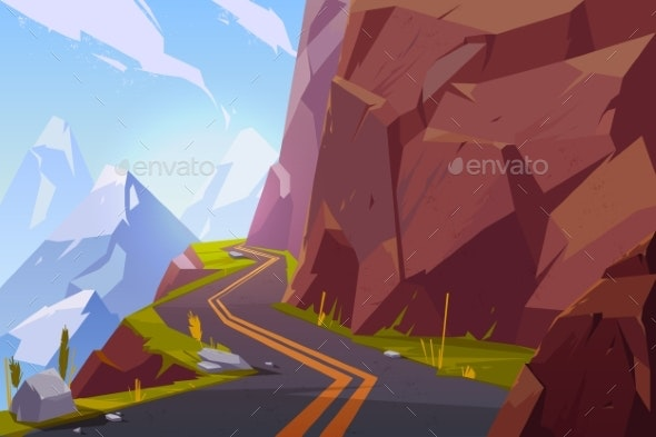 Mountain Asphalt Road, Curly Winding Empty Highway - Landscapes Nature