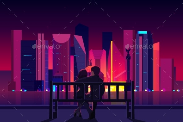 Couple Enjoying Mexico City Night View Vector - Buildings Objects