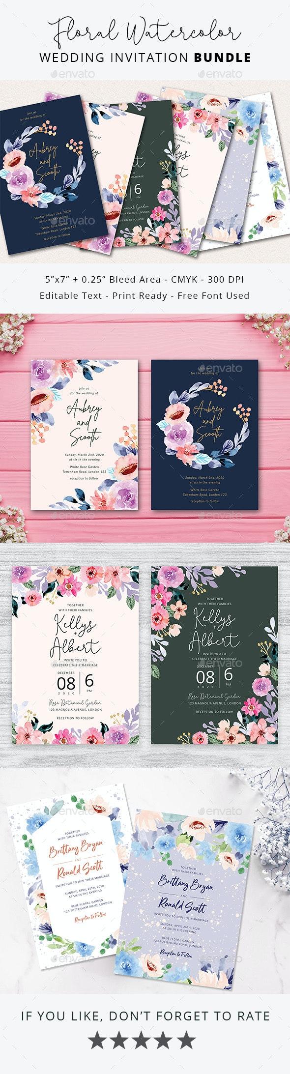 Floral Watercolor Wedding Invitation Bundle - Weddings Cards & Invites