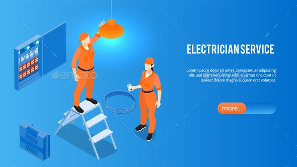 Electrician Service Horizontal Banner - Industries Business