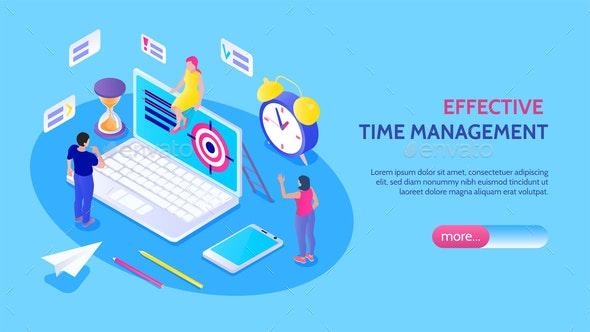 Effective Time Management Horizontal Banner - Miscellaneous Vectors