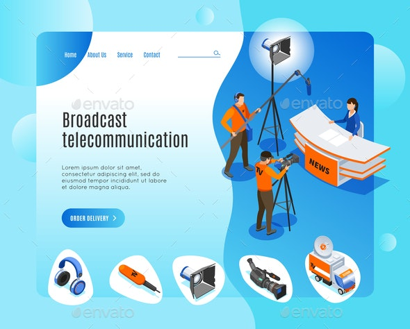 Broadcast Telecommunication Landing Page - Miscellaneous Vectors