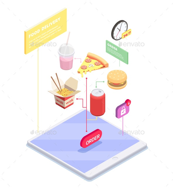 Electronic Commerce Isometric Composition - Business Conceptual