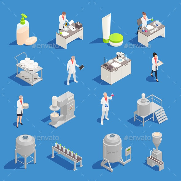 Cosmetics Detergent Production Isometric Icons - Computers Technology