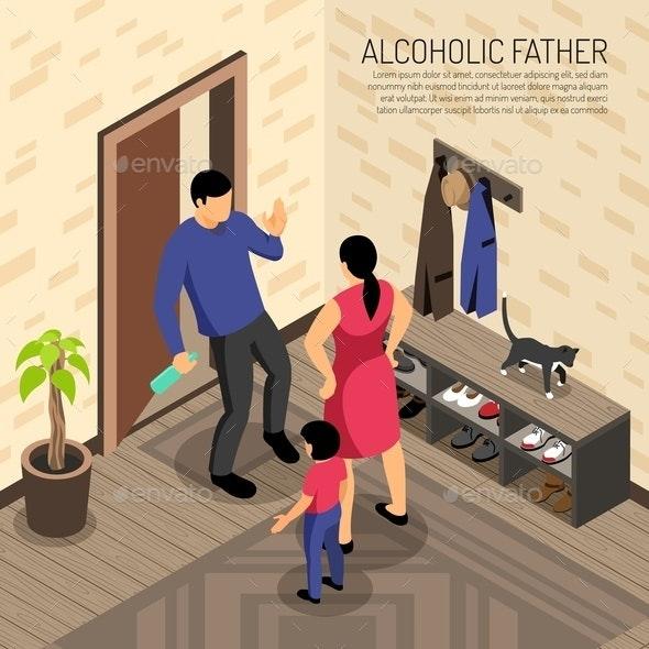 Alcoholic Father Isometric Illustration - Miscellaneous Vectors
