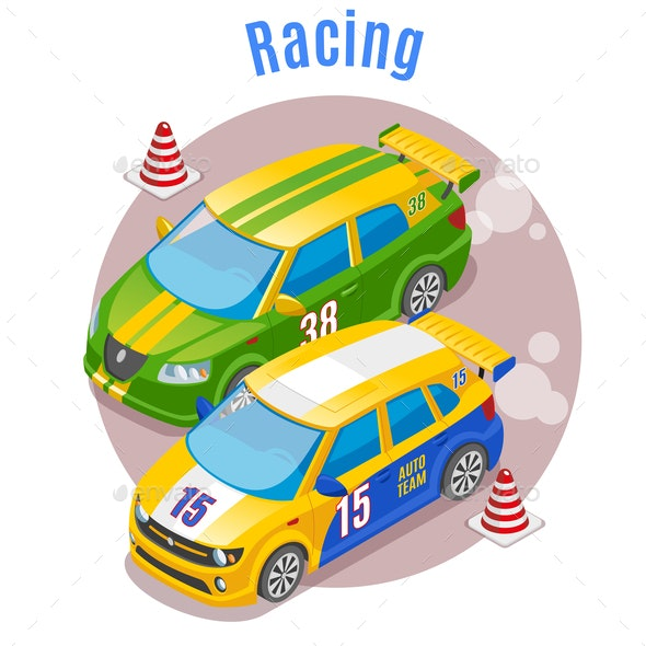 Racing Sports Isometric Concept - Sports/Activity Conceptual