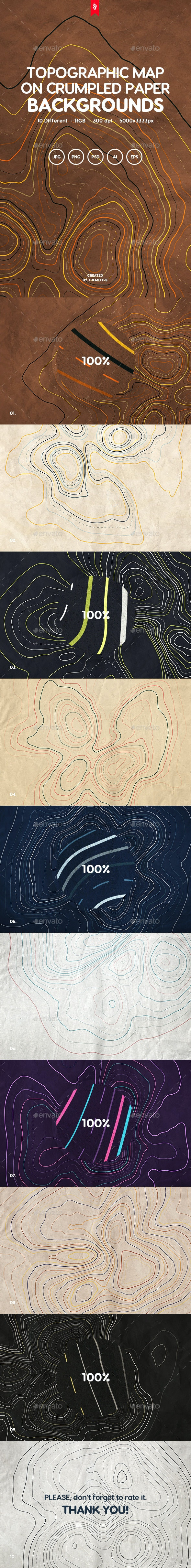 Topographic Elevation Maps on Crumpled Paper Backgrounds - Backgrounds Graphics