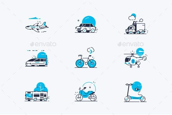 Transport Line Icons Set - Miscellaneous Vectors